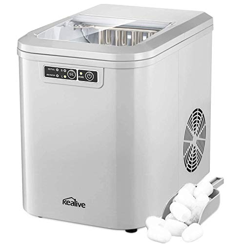 Kealive Ice Maker Machine, Portable Countertop Ice Cube Maker, Ice Cubes ready in 7 Minutes, Makes 26 lbs of Ice per 24 Hours, Ice Maker with 1.8 lbs Ice Storage Capacity, LED Display and Ice Scoop