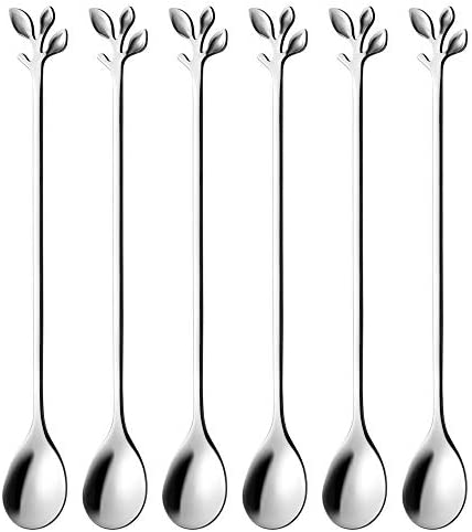 Long Handle Iced Tea Spoons set AnSaw 6 Pcs 7 4 Ice Cream Spoon Creative Silver Leaf Cocktail product image