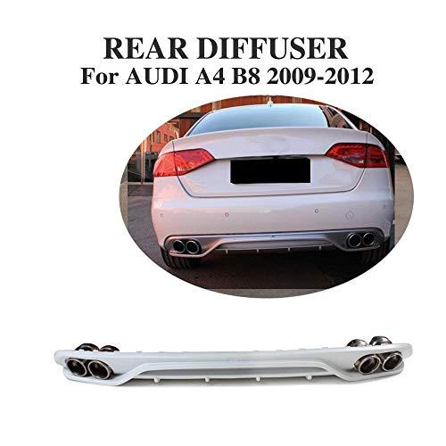 LY-QCYP Heckdiffusor, passend für Audi A4 B8 Non-Sline 2009-2012 PP Heckstoßstange Lip Diffusor Spoiler (Mit Auspuffspitzen Schalldämpfer)