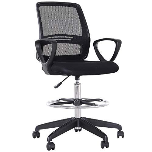 Vinsetto Arbeitsstuhl Ergonomischer Drehstuhl Bürostuhl höhenverstellbare Stehhilfe mit Fußstütze Metall Schwarz 59,5 x 60 x 102,5–126 cm