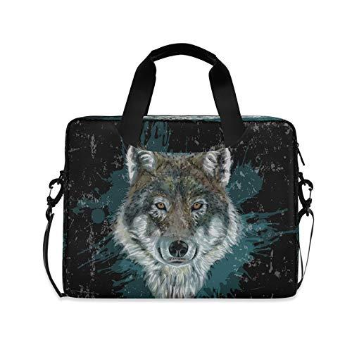 Yulife Wolf Lion Animal Laptop Bag Sleeve Case for Women Men Briefcase Tablet Messenger Shoulder Bag with Strap Notebook Computer Case 14 15.6 16 Inch for Kids Girls Business
