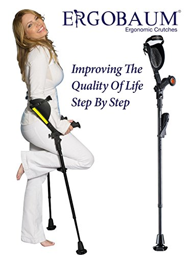 Crutches- Latest Generation Ergobaum by Ergoactives. 1 Pair of The'Pain Reduction' Crutches