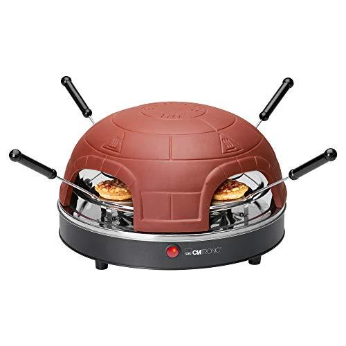 Clatronic PO 3681 Elektrischer Pizzaofen für 4 Personen, Terrakotta-Haube, Rezeptvorschläge, inklusiv Ausstechform, 900 W, Terrakotta/Schwarz