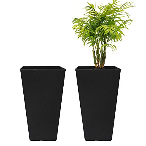LA JOLIE MUSE Tall Planters 20 Inch, Flower Pot Pack 2, Patio Deck Indoor Outdoor Garden Tree Planters (Black)
