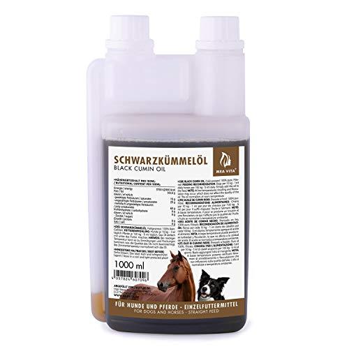 Aceite de comino negro MeaVita para animales, prensado en frío y 100% puro, 1 paquete (1x 1000 ml) en práctico frasco dosificador