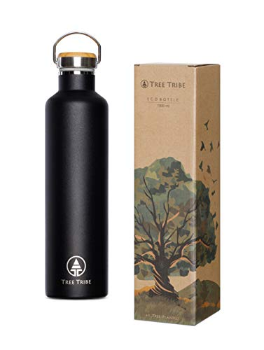 Black Stainless Steel Water Bottle 1 Liter / 34 oz - Indestructible, BPA Free, 100% Leak Proof, Eco Friendly, Double Wall Insulated Technology for Hot/Cold Drinks, Wide Mouth - Tree Tribe