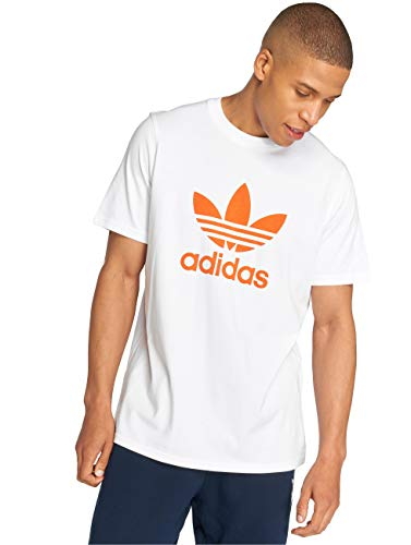 adidas Trefoil T-Shirt, Pull sans Manche Homme, Blanc (White/Craft Orange White/Craft Orange), Small