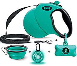 Ruff 'N Ruffus 360° Tangle-Free 16 ft Retractable Dog Leash For Pets Up To 110 lbs + FREE Travel Bowl + FREE Waste Bag Dispenser & 15 Bags + FREE LED Charm | Reflective Tape Easy Lock Anti Slip Handle