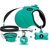 Ruff 'n Ruffus Retractable Dog Leash + Free Waste Bag Dispenser and Bags +Free Bonus Bowl + Free LED Light-Up Charm | Heavy-Duty 16ft Retracting Pet Leash | 1-Button Control |