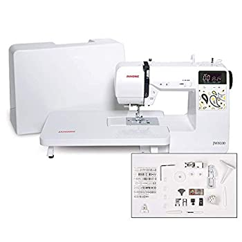 Janome JW8100 Fully-Featured Computerized Sewing Machine with 100 Stitches 7 Buttonholes Hard Cover Extension Table and 22 Accessories