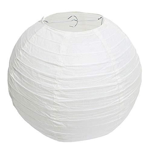 Klassisches weißes rundes Papier-Bambusart-Laternen-Lampenschirm-Hochzeits-Geburtstagsfeier-Dekoration (25cm)