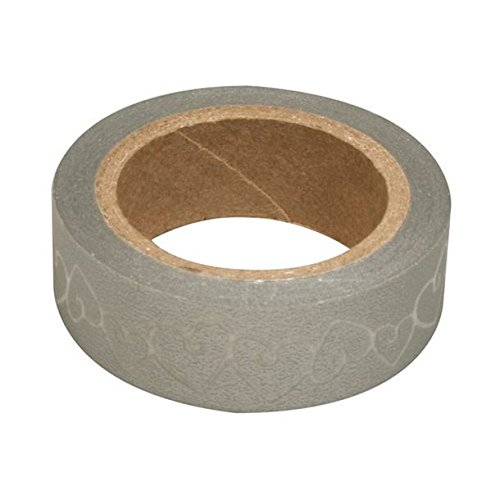 RAY - Washi Tape Argent Coeurs Blancs