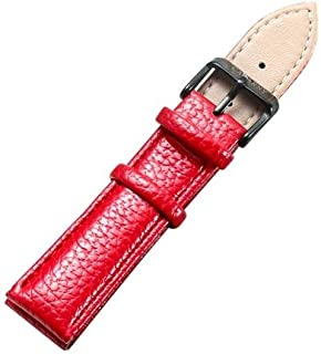 Songlin@yuan Simple and Stylish Black Watch with Buckle Leather Watch Strap, Width: 20 mm Fashion (Color : Red)