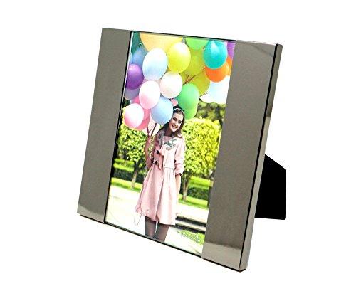 allpremio® Design edler Bilderrahmen Fotorahmen STYLE QUADRAT silber glänzend Metall, für Fotos im Hoch- und Querformat 10x15 cm eleganter Rahmen für Bilder Hochzeit Kinder Baby Portrait mit echt Glas