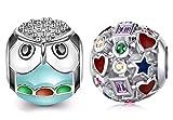 Marni's - 2 Charms Pandora Style | Regalos originales para mujer | Colgantes mujer | Compatibles Pulsera Pandora Charm...