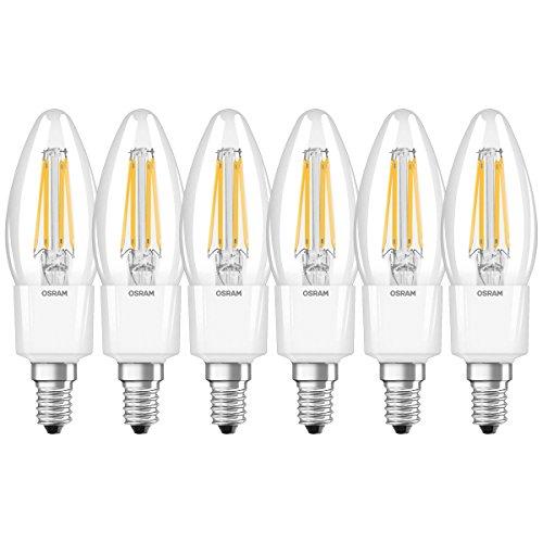 Osram Ampoule LED Filament, Forme flamme, Culot E14, Dimmable, 4,5W Equivalent 40W, 220-240V, claire, Blanc Chaud 2700K, Lot de 6 pièces