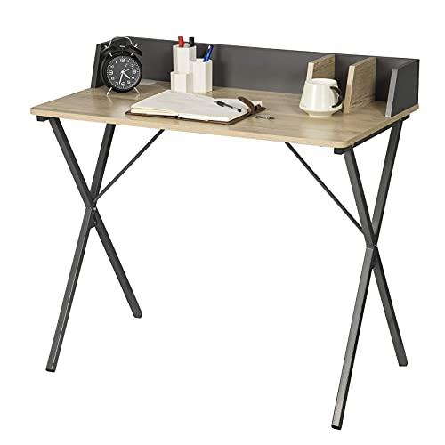 eSituro SCD0154 Schreibtisch Computertisch 90x50x73CM Bürotisch PC Tisch Arbeitstisch für Home, Büro, Metall + MDF, Holzoptik Vintage