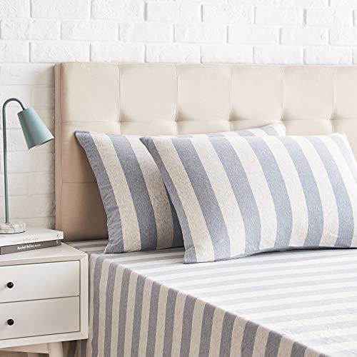 AmazonBasics - Juego de 2 fundas de almohada, diseño de rayas amplias, 50 x 80 cm, Azul Claro