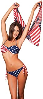 59420cdb18 Maillot de bain femme Bikini 2 pièces Bandeau Multicolore drapeau américain