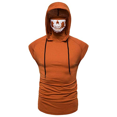 WAQD Mens Workout Training Hooded Sweat Top Short Sleeve Hoody T-Shirt Men's Short-Sleeved Hoodie Slim Fit Casual Hoodie Hipster Hip Hop Workout Hoodie Sweatshirt Short Sleeve T-Shirt