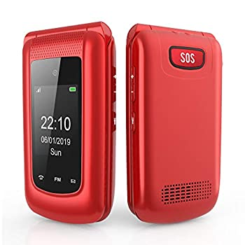 Uleway Flip Phone Unlocked Dual Screen Senior Flip Phone High Volume Large Button Basic Cell Phone for Seniors Simple 3G Feature Phone for Kids Red