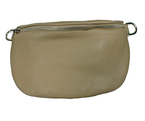 Italy borse in pelle Metallic echt Leder Damen crossover Body Bag Bauchtasche Gürteltasche Handtasche beige