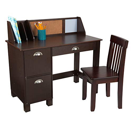 KidKraft Wooden Study Desk with Chair - Espresso, Drawers, Extra Storage, Handles, Bulletin Board, Sturdy, Solid, Kid-Sized Study, Gift for Ages 5-10