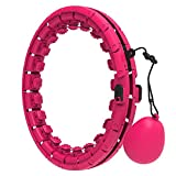 reakoo Smart Hula Hoop for Adults with Ball 24 Detachable Knots Adjustable Size 2 in 1 Abdomen Exercise Fitness Weighted Smart Hoola Hoops