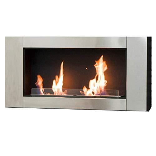 PiuShopping Chimenea de bioetanol de pared empotrable, estufa para interiores, calefacción sin chimenea, 110 x 16 x 54 cm