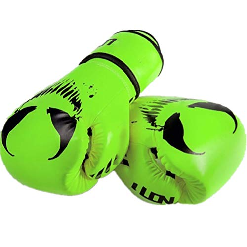Madeinely Boxhandschuhe Monster Muster Boxhandschuhe Boxen MMA Boxsack Trainings Mitts 4 Farben Optional for Boxen Muay Thai MMA für Männer und Frauen (Color : Green, Size : 10oz)