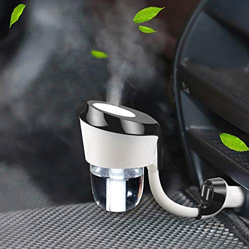 EEssen Car Diffuser Humidifiers, Essential Oil Diffusers with Dual USB Car Charger Adapter for Vehicle Automobile(Black)