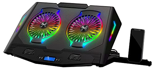 ICE COOREL N10 laptop kühler/Notebook-Kühlhalterung, RGB-Gaming-Kühlpad für 12-21 Zoll, mit 2 leisen Lüftern, 5 höhenverstellbar, LCD-Bildschirm und 1 Handyhalterung