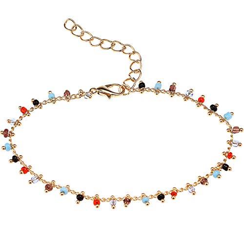 Suyi Pulsera De Tobillo para Mujeres Niñas Tobilleras De Playa Ajustables Boho Color Bead Foot Chain Gift ColorBead