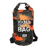 Borsa impermeabile Dry Bag, 30 l/20 l, per kayak, barca, pesca, rafting, nuoto, sport acquatici (mimetico arancione)