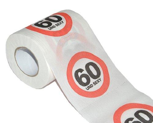 alles-meine.de GmbH Toilettenpapier 25m - 60. Geburtstag / sechszig und Sexy - Verkehrsschild WC Klopapier Klopapier lustig Klorolle große Rolle - Scherzartikel