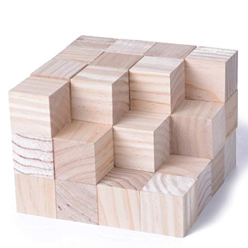 KINGCRAFT 40pcs Solid Wood Craft Blocks DIY Crafts Carving Painting Art Supplies for Shower Game Puzzle Making,1.5inch