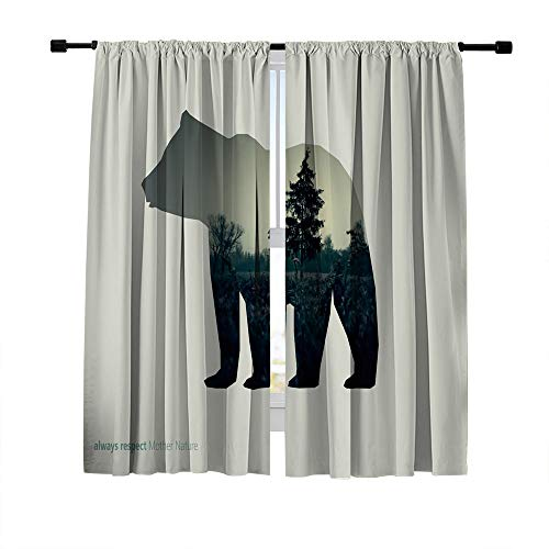 Miblor Blackout Curtains Window Treatments Draperies,Creative Picture with line icon of Bear and Dark Forest in The Middle,Window Curtains for Bedroom Living Room Kitchen Cafe,2 Panels Set