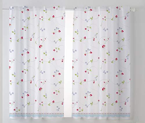 Cardenal Textil Fresón Cortina Cocina Visillo, Tela, Azul, Pack 2 100 x 140 cm