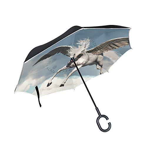 Paraguas invertido de Doble Capa, a Prueba de Viento, para E