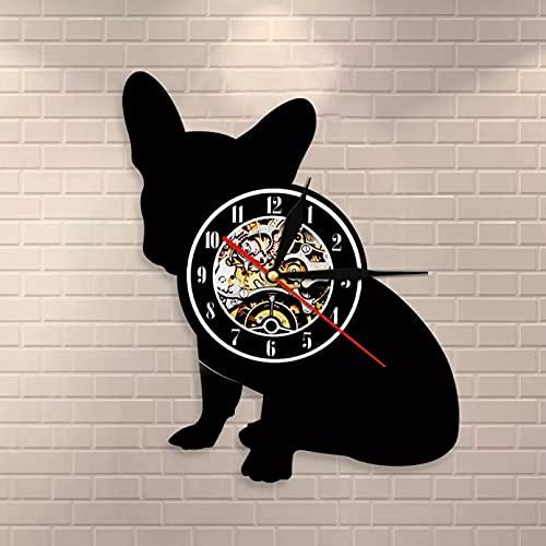 WTTA Cane di Razza Bulldog Francese Record di Cane Orologio da Parete in Vinile Cucciolo Pet Decorazione della casa Cane Silhouette Orologio