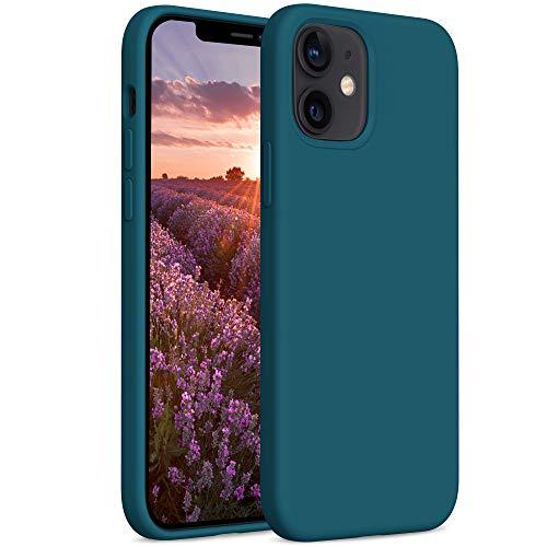 YATWIN Compatibile con Cover iPhone 12 Mini 5,4'', Custodia per iPhone 12 Mini Silicone Liquido, Protezione Completa del Corpo con Fodera in Microfibra, Verde Scuro
