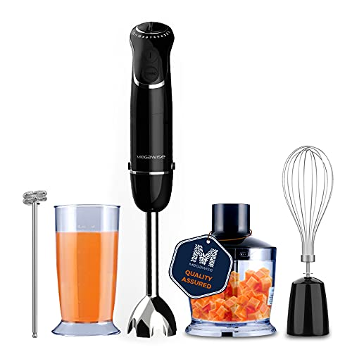 MegaWise 5-in-1 Immersion Hand Blender, Powerful 800 Watt 12-Speed Corded Blender with Sturdy Titanium Plated Stainless Steel Blades, Including 500ml Chopper, 600ml Beaker, Whisk and Milk Frother Attachments, BPA-Free and Dishwasher Safe