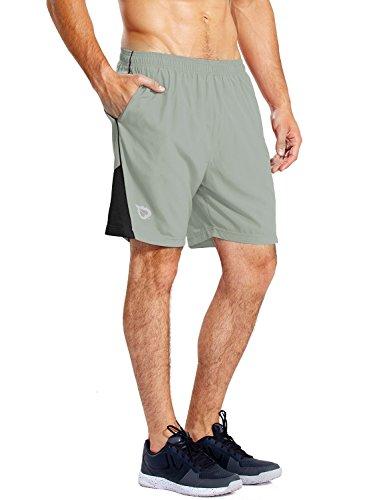 BALEAF Men's 7'' Athletic Running Shorts Quick Dry Mesh Liner Zip Pocket Light Grey Size XL