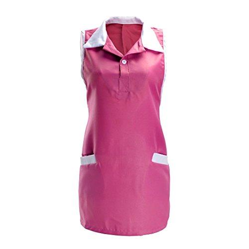 FREAHAP R Tablier Robe Spa Blouse Femme sans Manches pour Spa Salon Coiffure Manucure Rose