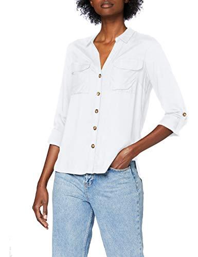 Vero Moda VMBUMPY L/S Shirt Noos Camiseta sin Mangas, Blanco Nieve, S para Mujer
