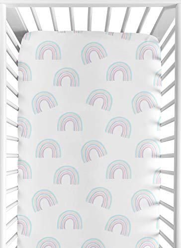 Sweet Jojo Designs Pastel Rainbow Girl Fitted Crib Sheet Baby or Toddler Bed Nursery – Blush Pink, Purple, Teal, Blue and White
