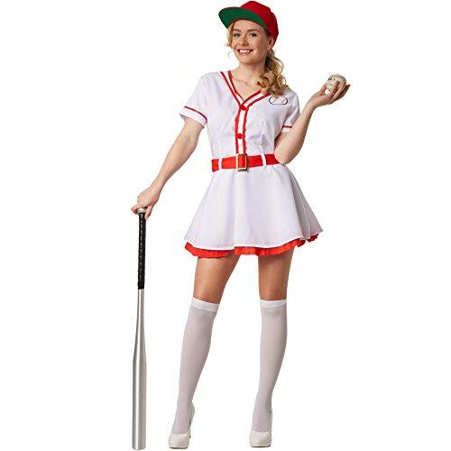 dressforfun Disfraz para mujer Béisbol | Vestido de una pieza con botones incluye calcetines en blanco (L | no. 301791)