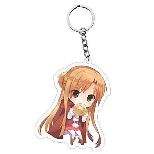 lunanana Sword Art Online Schlüsselanhänger, Anime-Charaktere Asuna Kirito Anhänger Schlüsselanhänger für Partyzubehör Sommer Camp Preise Geldbörse Tasche (H19)