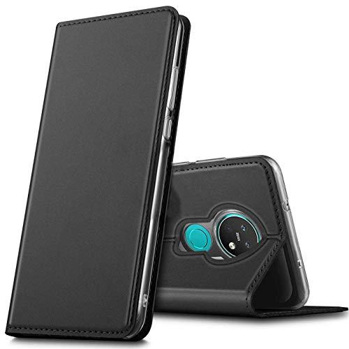 Verco Handyhülle für Nokia 7.2, Premium Handy Flip Cover für Nokia 7.2 Hülle [integr. Magnet] Book Hülle PU Leder Tasche, Schwarz