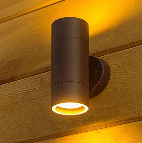 Aplique de Pared Exterior Arriba Abajo Aplique Exterior IP54 Lámpara de Pared Moderna de Aluminio para Entrada Terraza Jardín, Casquillo GU10, Bombilla no Incluida